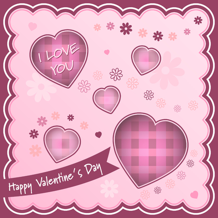Happy Valentines Day background with hearts and flowers. Vector illustration.