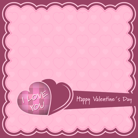 Happy Valentines Day pink vector illustration with hearts and I Love you inscription.