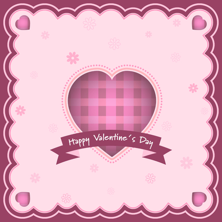 Happy Valentines Day greeting card with heart and inscription in the middle. Flowers in the background. Vector illustration. Illustration