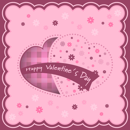 Valentine background with hearts and flowers inside. Vector illustration. Illustration