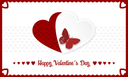Happy Valentines Day vector banner with red and white hearts and butterly. Illustration of love. Illustration