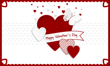 Happy Valentines Day background. Red and white hearts as a symbol of love, ribbon and butterly. Vector illustration.