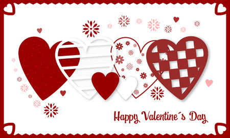 Happy Valentines Day vector banner with red and white hearts and flowers. Illustration of love.