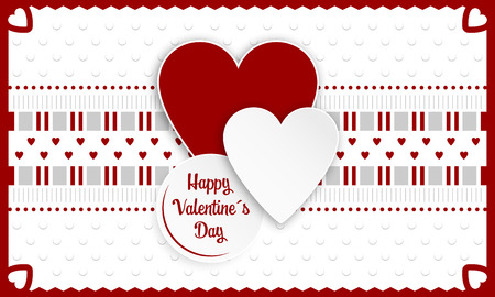 Happy Valentines Day greeting card. Red and white hearts as a symbol of love. Vector illustration.