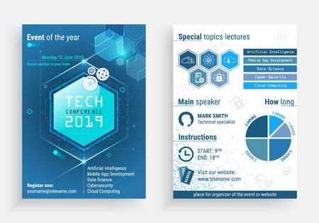 Business flyer  template with a technology conference title Illustration