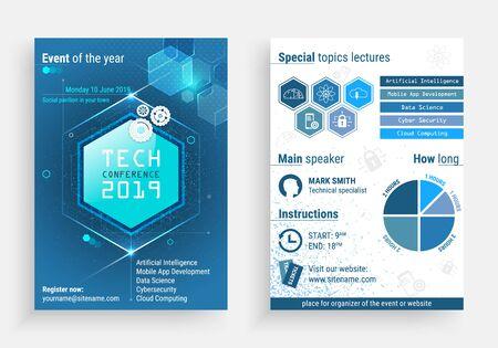 Business-Flyer-Vorlage mit einem Technologiekonferenztitel