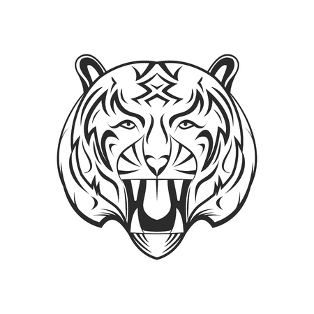 Cartoon tiger on a white background.