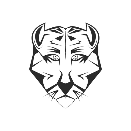 Vector wild cougar illustration. Wild cat, panther or mountain lion. Cartoon tattoo or mascot picture.