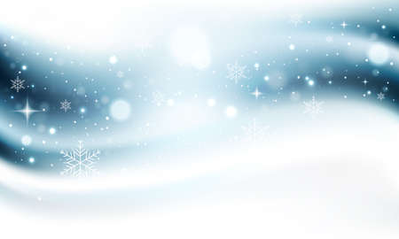 Winter snowy background with glitters, snowflakes and stars. Abstract vector christmas card.