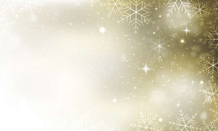 Winter abstract vector background. Snowflakes, glitter and stars. Christmas card.