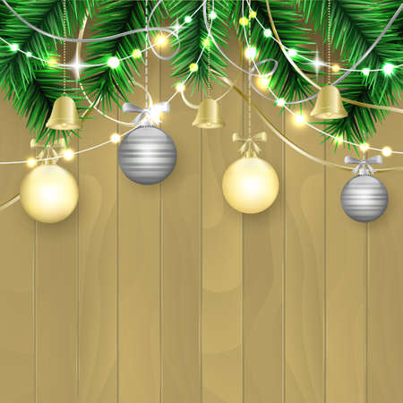 Christmas and New Year wishes with gold and silver bobbles, bells, bows, ribbons and light wall on a wooden background. Editable vector illustration. Illustration