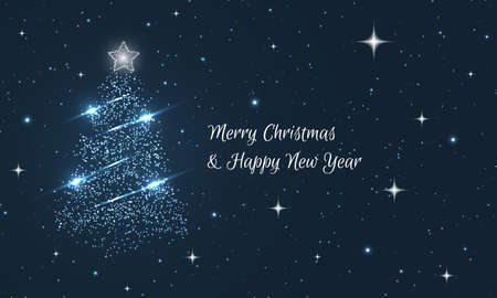 Merry Christmas and Happy New Year greeting card. Abstract vector winter background with glitters and stars.