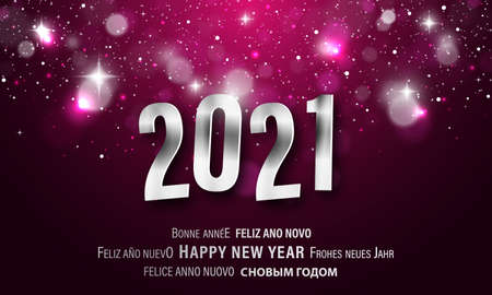 Happy New Year greeting card in different languages. PF 2021. Editable vector design with stars, glitters and lights. Illustration