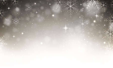 Vector abstract winter christmas snowy grey background with snowflakes, stars and glitters.