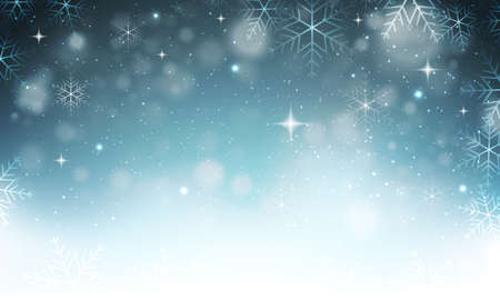 Vector abstract winter christmas snowy background with snowflakes, stars and glitters. Illustration