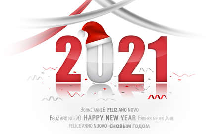 PF 2021. New Year vector illustration with christmas hat and ribbons.