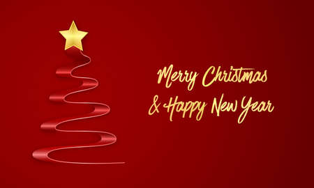 Merry Christmas and Happy New Year greeting card on dark red background with christmas tree, gold text and star. Editable vector design. Illustration