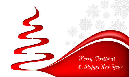 Christmas and New Year greeting with a red Christmas tree on a white background and snowflakes. Editable vector design.