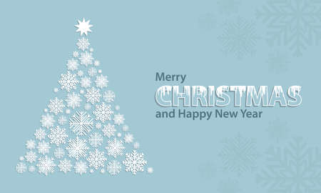 Christmas tree with snowflakes and star on a blue Christmas and New Year background. Editable vector illustration.