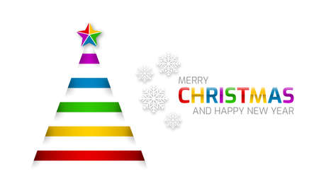 Colorful Christmas tree with a star on a white background. Christmas and New Year greetings. Editable vector design.