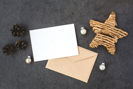 envelope decoration: Card and envelope with Christmas decorations, top view