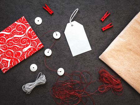 valentinas: Festive background wiht label and rope, top view