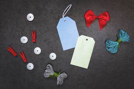 valentinas: Festive background wiht two labels and bow