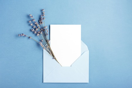 Mockup with card and lavender in blue envelope. Top view.