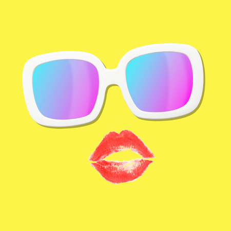 Contemporary art collage made of red lips and white trendy sunglasses on yellow background. Summer vacation concept. Banque d'images
