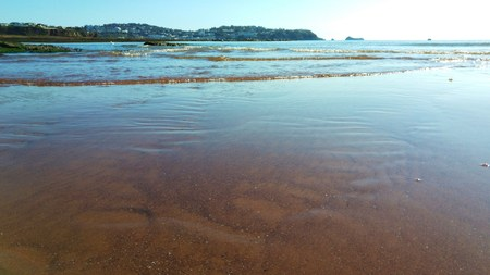 spring tide: Looking at Torquay from Paignton Stock Photo
