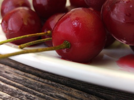 plump: Fresh ripe plump sweet cherries