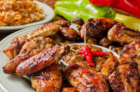 roasted chicken: Jerk Chicken Wings Stock Photo