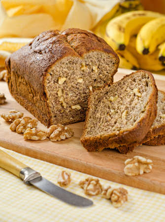 A freshly baked banana bread with walnuts  photo