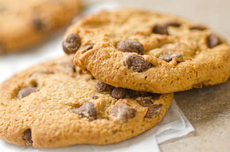 close up food: Close up of chocolate chip cookies. Stock Photo