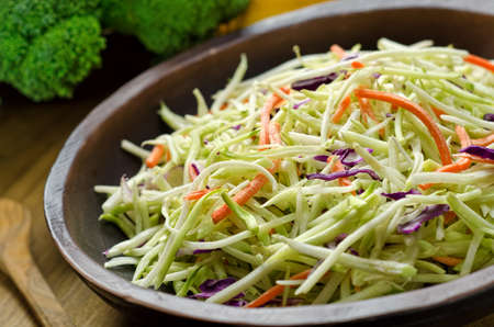 broccoli salad: A bowl of crispy coleslaw. Stock Photo