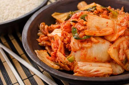 A bowl of traditional Korean kimchi.