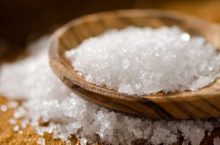 mineral salt: Close up of sea salt - fleur de sel. Stock Photo