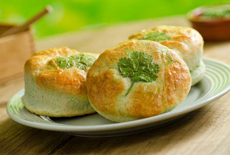 baked: Freshly baked shamrock biscuits. Stock Photo