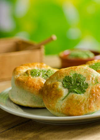 st  patrick s day: Freshly baked shamrock biscuits. Stock Photo