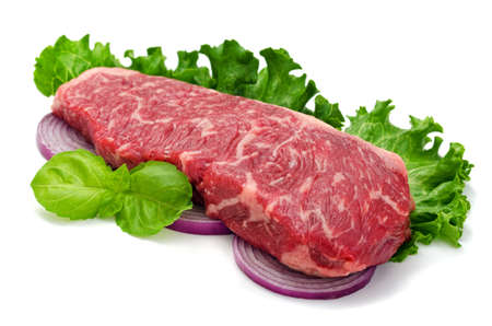 new york strip: A perfectly  marbled strip loin steak isolated on white. Stock Photo