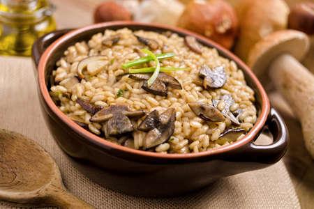 A bowl of wild mushroom risotto with arboreal rice and porcini mushrooms. Stock Photo
