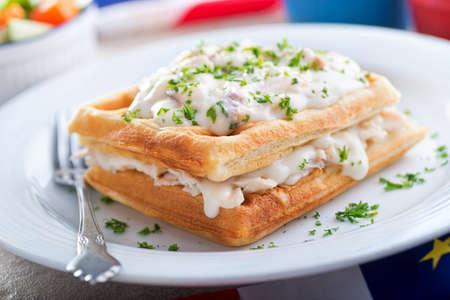 haddock: Creamed Haddock with Waffles
