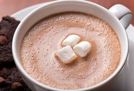 Close up of a fresh creamy cup of hot chocolate with marshmallows and chocolate chip cookies. photo