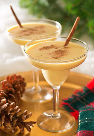 eggnog: Two delicious eggnog cocktails with cinnamon sticks and cinnamon garnish.