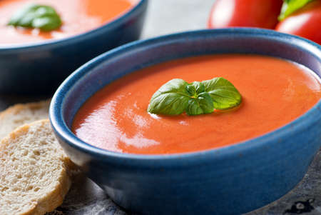 A bowl of delicious home made tomato basil soup.