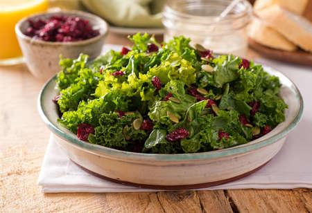 ensalada de verduras: Una deliciosa ensalada de col rizada con ar�ndanos secos y semillas de calabaza. Foto de archivo