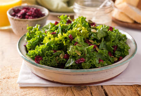A delicious kale salad with dried cranberry and pumpkin seed.