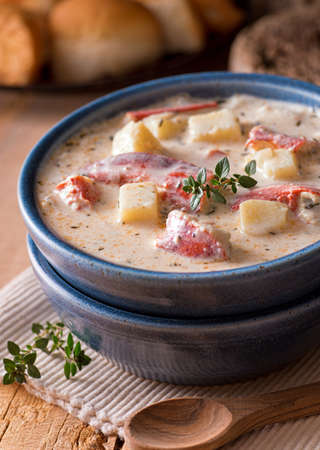 A delicious hot bowl of lobster chowder.