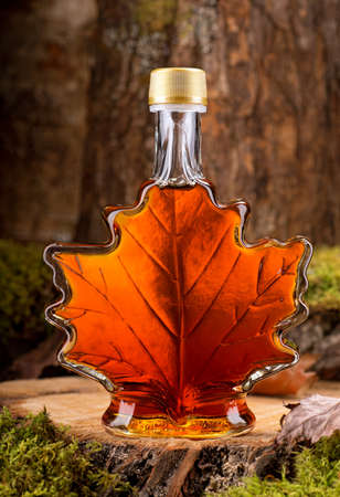 A bottle of delicious maple syrup in hardwood forest setting. photo