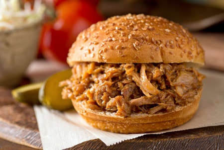 A delicious slow roasted pulled pork sandwich on a Texas style bun.